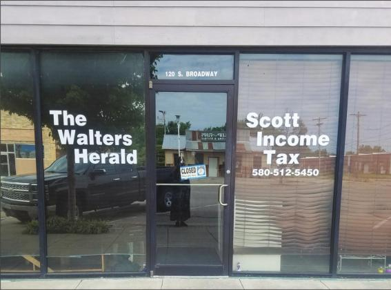 New location at 120 S. Broadway for The Walters Herald and Scott Income Tax
