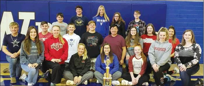 1st row L-R Glory Collins, Makenzie Thurman, Grace Myers, Kahlor Coleman, Hadlee Smith, Abree Darnell, Evie Everette (new member) Middle - Axel Mallow, Robert Marlow, Corbin Good, Zac Wagner, Phelim Jiang, Jocelyn Scherler, Kayli Wright, Sky'Lynn Fletcher Back - Sam Morgan, Noah Collins. Emma Youngblood, Emma Price, Kaitlyn Smith Not Josh Cannon