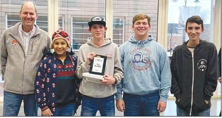 Cotton County 4-H Sr. Robotics Team receiving their State Plaque for 2nd place at the Oklahoma 4-H State Robotics Contest. Pictured (Left to Right): State 4-H STEM Specialist Jeff Sallee, Aiden Spence, Preston Fremin, Zachary Wagner, and Luke Liming.